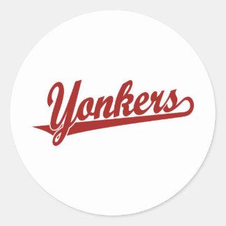 赤のYonkersの原稿のロゴ ラウンドシール