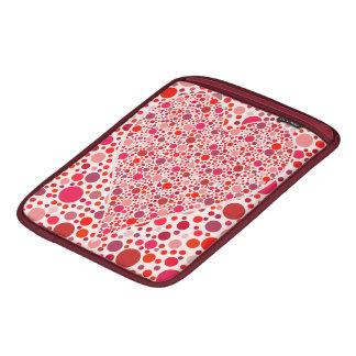 赤はモザイクハートの形のピンクの水玉模様に点を打ちます iPadスリーブ