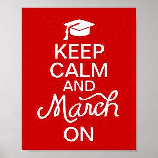 赤は卒業ポスターの平静そして3月を保ちます ポスター