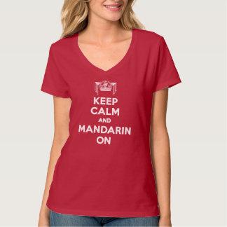 赤は女性V首の平静そしてマンダリンを保存します Tシャツ