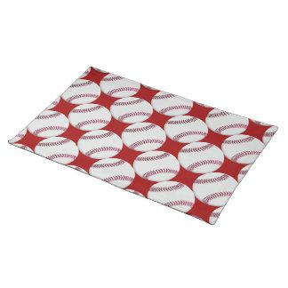 赤または色の野球パターン ランチョンマット
