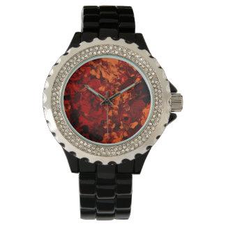 赤を見て抽象美術は赤い及びオレンジで設計します 腕時計