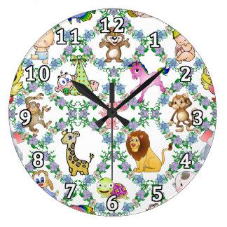 赤ん坊および動物 ラージ壁時計