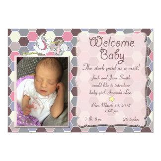 赤ん坊くまの女の子の誕生の発表 12.7 X 17.8 インビテーションカード