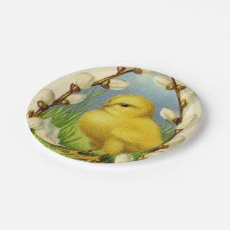 赤ん坊のひよこの春の紙皿 ペーパープレート