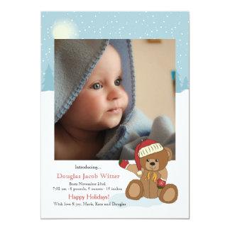 赤ん坊のクリスマスくまの休日の誕生の発表 12.7 X 17.8 インビテーションカード