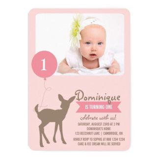 赤ん坊のシカ|のピンクの写真の子供の誕生日の招待状 12.7 X 17.8 インビテーションカード