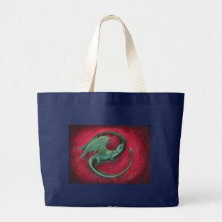 赤ん坊のドラゴンのファンタジーの芸術 ラージトートバッグ