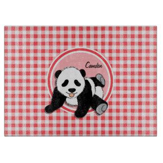 赤ん坊のパンダ; 赤と白のギンガム カッティングボード