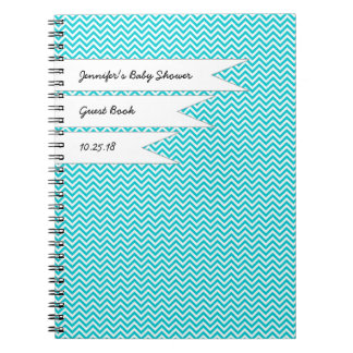 赤ん坊のブライダルシャワーの来客名簿のターコイズシェブロン ノートブック