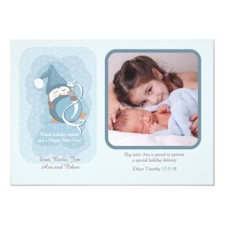 赤ん坊のペンギンの休日の写真の誕生の発表 12.7 X 17.8 インビテーションカード
