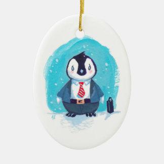赤ん坊のペンギンは働くことを行きます セラミックオーナメント