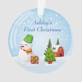 赤ん坊の初めてのクリスマスの写真のかわいい雪玉の雪だるま オーナメント