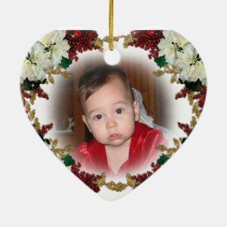 赤ん坊の初めてのクリスマスの写真のオーナメント セラミックオーナメント