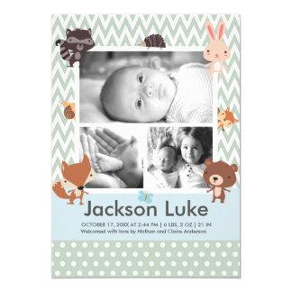 赤ん坊の動物のかわいい男の子の写真の誕生の発表1 12.7 X 17.8 インビテーションカード