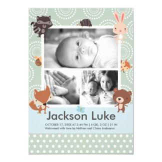 赤ん坊の動物のかわいい男の子の写真の誕生の発表 12.7 X 17.8 インビテーションカード