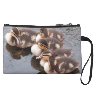 赤ん坊の子ガモのアヒルの鳥の野性生物動物のバッグ スエードクラッチ