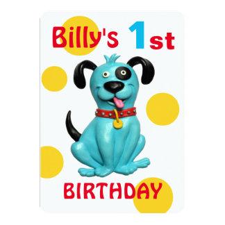 赤ん坊の第1誕生会のかわいく青い小犬の男の子 カード