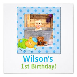 赤ん坊の第1誕生日|の青および緑の男の子 カード