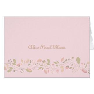 赤ん坊の花のボーダー写真の誕生の発表 ノートカード