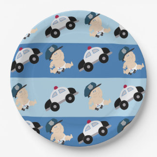赤ん坊の警官の警察官車のカスタムな紙皿 ペーパープレート