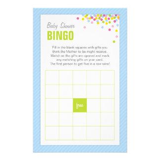 赤ん坊はベビーシャワーのビンゴのゲームカード-青--を振りかけます 便箋