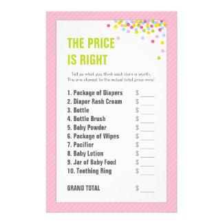 赤ん坊は価格正しいです-ピンク振りかけましたり/ベビーシャワーの 便箋