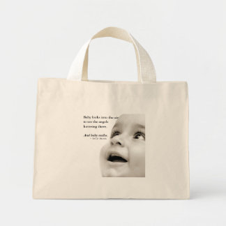 赤ん坊は小さい戦闘状況表示板微笑します ミニトートバッグ