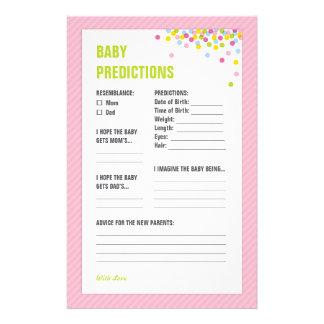 赤ん坊は赤ん坊の予言カード-ピンク--を振りかけます 便箋