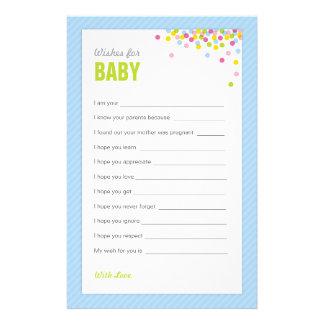 赤ん坊は願い赤ん坊-青のための振りかけましたり/ベビーシャワーの 便箋