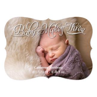 赤ん坊は3つの誕生の写真の発表カード男の子を作ります 12.7 X 17.8 インビテーションカード