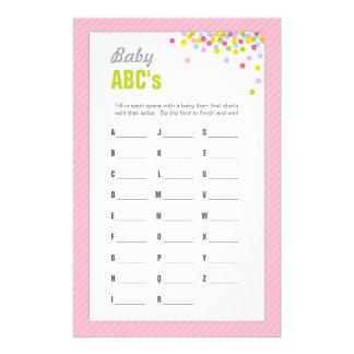 赤ん坊はABCsのゲーム-ピンク振りかけましたり/ベビーシャワーの 便箋