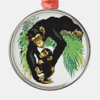 赤ん坊を持つチンパンジー メタルオーナメント