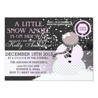 赤ん坊冷たい外の雪の天使のベビーシャワー 12.7 X 17.8 インビテーションカード