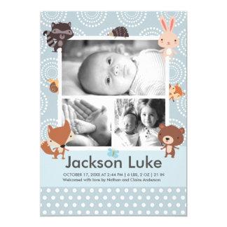 赤ん坊動物の男の子の写真の誕生の発表 12.7 X 17.8 インビテーションカード