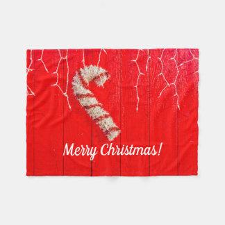 赤クリスマスのキャンディ・ケーン-季節的な-休日 フリースブランケット