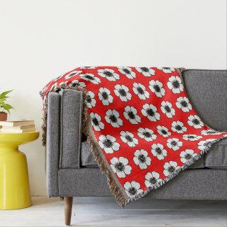 赤コテージ花--毛布ユニセックス スローブランケット