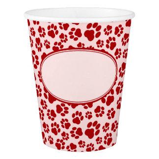 赤ピンクの足のプリントの紙コップ 紙コップ