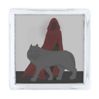 赤フード付きの姿およびオオカミ シルバー ラペルピン