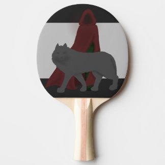 赤フード付きの姿およびオオカミ 卓球ラケット