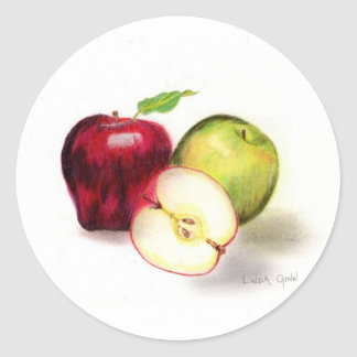 赤リンゴおよびおばあさんスミスりんごのステッカー ラウンドシール
