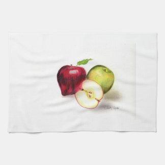 赤リンゴおよびおばあさんスミスりんご キッチンタオル