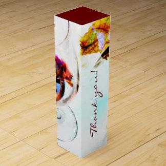 赤ワインのガラスanfdのブドウの葉 ワインギフトボックス