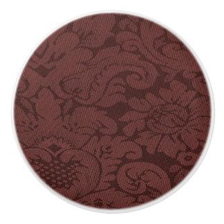 赤ワインのダマスク織の織り方の一見 セラミックノブ