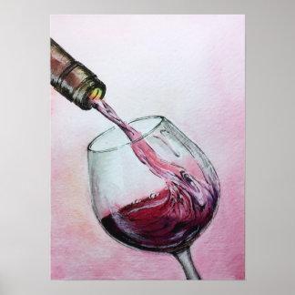 赤ワインの芸術ポスター水彩画の絵画の台所 ポスター