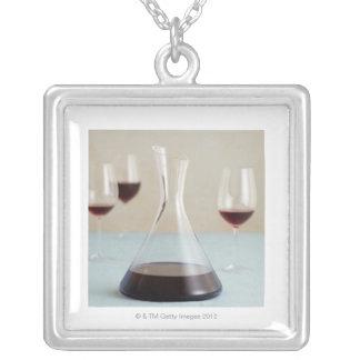 赤ワインのCarafe シルバープレートネックレス