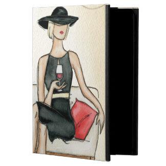 赤ワインを飲んでいる女性 iPad AIRケース