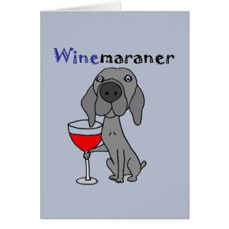赤ワインを飲んでいるWeimaranerおもしろいな犬 カード