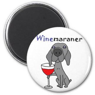 赤ワインを飲んでいるWeimaranerおもしろいな犬 マグネット