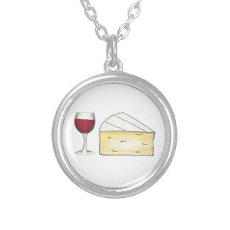 赤ワインガラスおよびブリーチーズネックレス シルバープレートネックレス